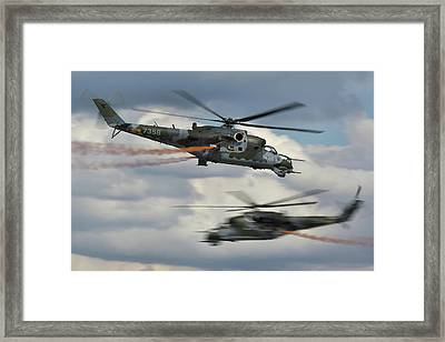 Framed Print featuring the photograph Mil Mi-24v Hind E by Tim Beach