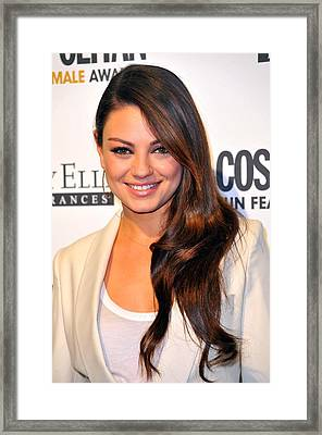 Mila Kunis At Arrivals For Cosmopolitan Framed Print by Everett