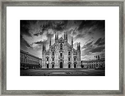 Milan Cathedral Santa Maria Nascente Monochrome Framed Print by Melanie Viola