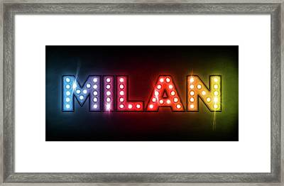 Milan In Lights Framed Print by Michael Tompsett