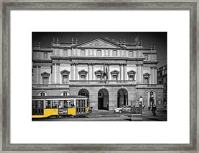 Milan Teatro Alla Scala And Tram Framed Print by Melanie Viola