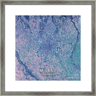 Milano 3d Render Satellite View Topographic Map Framed Print by Frank Ramspott