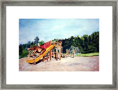 Mildred Goes Down The Slide Framed Print