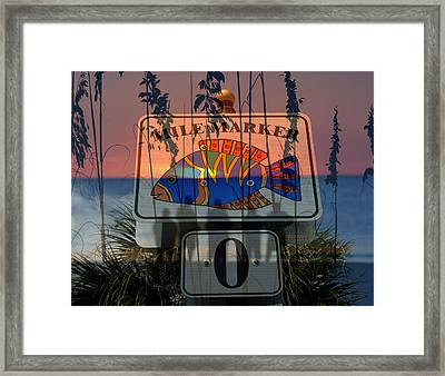 Framed Print featuring the photograph Mile Marker 0 Sunset by David Lee Thompson