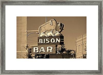 Miles City, Montana - Bison Bar Sepia Framed Print