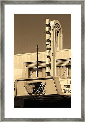 Miles City, Montana - Theater Marquee Sepia Framed Print