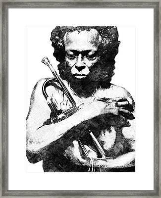 Miles Davis Bw  Framed Print by Mihaela Pater