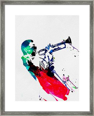 Miles Watercolor Framed Print by Naxart Studio