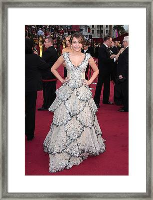 Miley Cyrus Wearing A Zuhair Murad Gown Framed Print