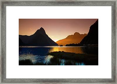 Milford And Mitre Peak At Sunset Framed Print by Odille Esmonde-Morgan