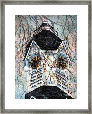 Milford Church Clock Tower Autumn Days Framed Print by Janine Riley