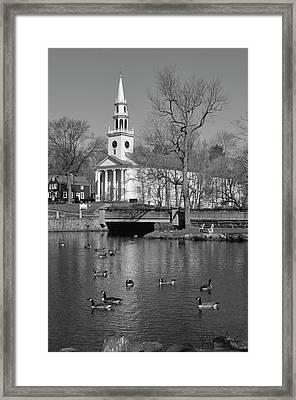 Milford Congregational Church Bw Framed Print