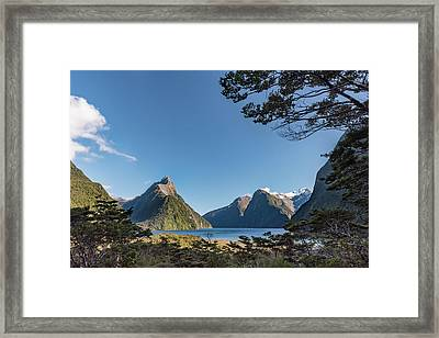 Framed Print featuring the photograph Milford Sound Overlook by Gary Eason