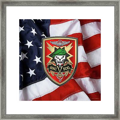 Military Assistance Command, Vietnam Studies And Observations Group Patch Over U. S. Flag  Framed Print