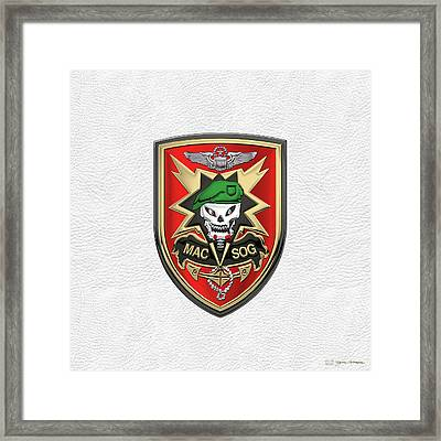 Military Assistance Command, Vietnam - Studies And Observations Group Patch Over White Leather Framed Print