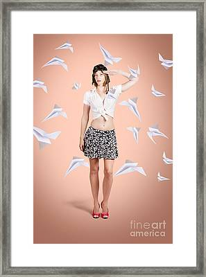 Military Pin-up Pilot Saluting A Take-off Ready Framed Print by Jorgo Photography - Wall Art Gallery