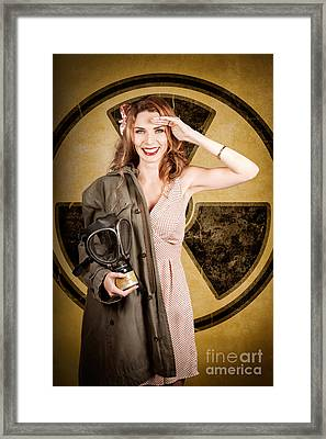 Military Pin-up Woman. Atomic Female Bombshell Framed Print by Jorgo Photography - Wall Art Gallery
