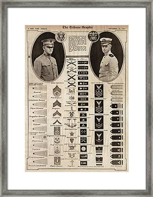 Framed Print featuring the photograph Military Rank Identification 1917 by Daniel Hagerman