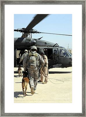 Military Working Dog Handlers Board Framed Print by Stocktrek Images