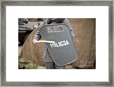 Militia Grey Shield At 32nd Anniversary Framed Print