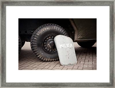 Militia Shield And Tire Of Combat Framed Print