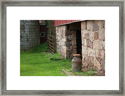 Milk Can At Stone Barn Framed Print