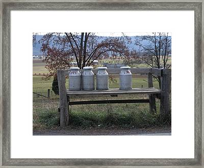 Milk Cans Waiting For Pickup Framed Print by Jeanette Oberholtzer