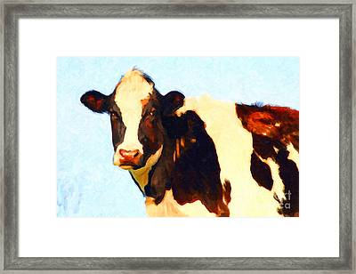 Milk Cow . Photoart Framed Print by Wingsdomain Art and Photography