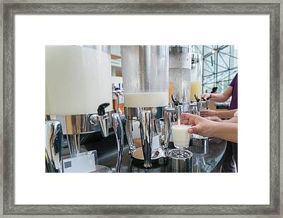Milk For Drink In Lunch Buffet Framed Print