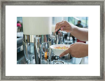 Milk For Drink In Lunch Buffet In Hotal Framed Print