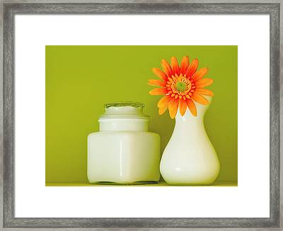 Milk Glass Framed Print by Linda McRae