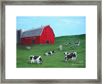 Milking Time Dairy Framed Print