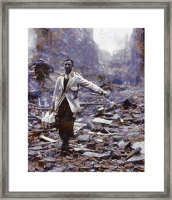 Milkman In The Blitz Framed Print by Esoterica Art Agency