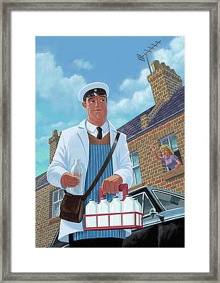 Milkman On Daily Milk Delivery In Urban Old Street Framed Print by Martin Davey
