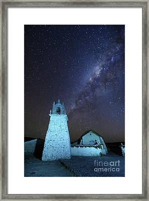 Milky Way Above Guallatiri Village Church Chile Framed Print by James Brunker