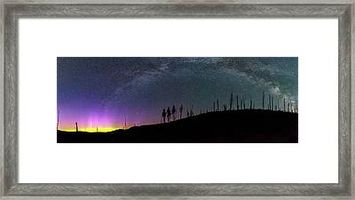 Framed Print featuring the photograph Milky Way And Aurora Borealis by Cat Connor
