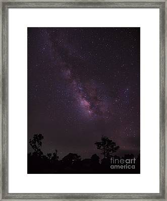 Framed Print featuring the photograph Milky Way And Galaxy. by Tosporn Preede