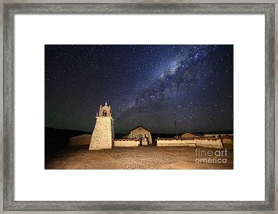 Milky Way And Guallatiri Village Church Chile Framed Print by James Brunker
