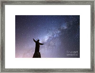 Milky Way And Jesus Christ Statue Framed Print by James Brunker