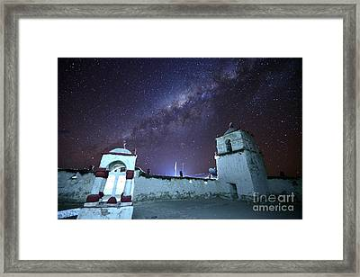 Milky Way And Parinacota Village Church Chile Framed Print by James Brunker