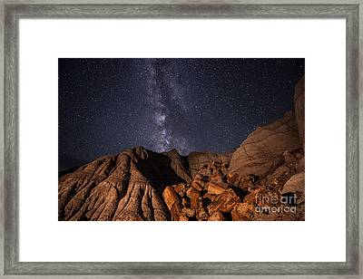 Milky Way And Petrified Logs Framed Print by Melany Sarafis