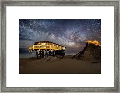 Milky Way Beach House Framed Print