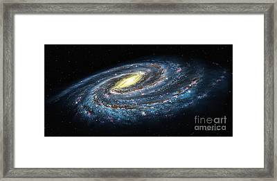 Milky Way Galaxy Oblique Framed Print by Lynette Cook
