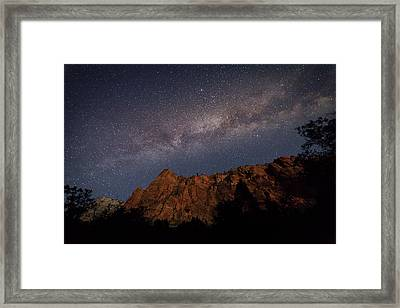 Milky Way Galaxy Over Zion Canyon Framed Print