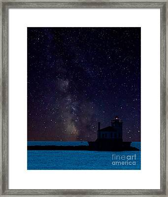 Milky Way Lighthouse Framed Print