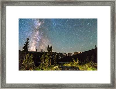 Milky Way Magic Above Longs Lake And The Indian Peaks Framed Print