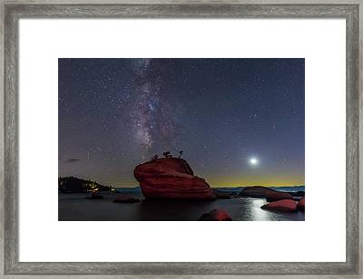 Milky Way Moon And Bonsai Rock Framed Print by Marc Crumpler