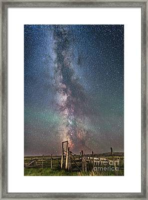 Milky Way Over An Old Ranch Corral Framed Print