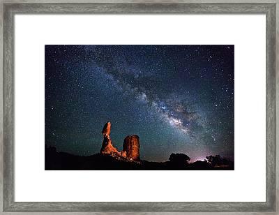 Milky Way Over Balanced Rock Framed Print