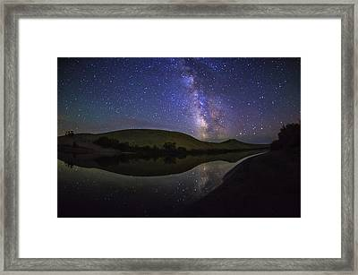 Milky Way Over Big Dunes At Bruneau Dunes State Park Idaho Usa Framed Print by Vishwanath Bhat